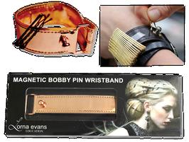 Magnetisches Leder Armband für Stecknadeln in Rose Gold