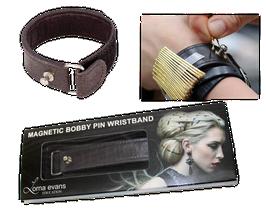 Magnetisches Leder Armband für Stecknadeln in Schwarz
