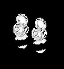 Zilveren oorbedels met witte zirconia's