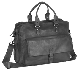 Laptoptasche Leder Chesterfield in Schwarz -Modell Johnny