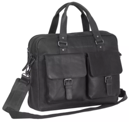Laptoptasche Leder Chesterfield in Schwarz -Modell Dylan