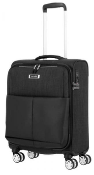 Reisetrolley Travelite 55cm, Proof in Schwarz mit Doppelrollen/Vierrad