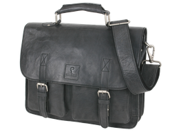 Businesstasche Leder Bull & Hunt Business Bag washed Schwarz