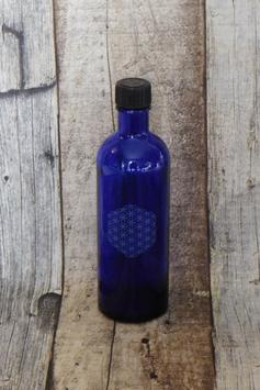 Blauglasfläschchen 200 ml mit Blume des Lebens