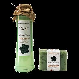 confezione regalo bagnodoccia e sapone all'olio d'oliva il giardino d'ischia
