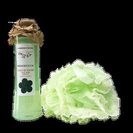confezione regalo bagnodoccia all'olio di oliva e spugna vintage Il giardino d'Ischia