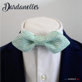 "Noeud papillon vert ""Dardanelles"" - forme en pointe"