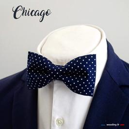 """Noeud papillon bleu à pois blanc """"Chicago"""""""