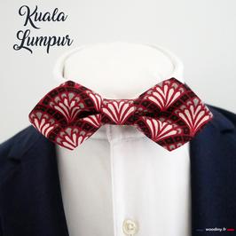 "Noeud papillon motif éventail ""Kuala Lumpur"" - forme en pointe"