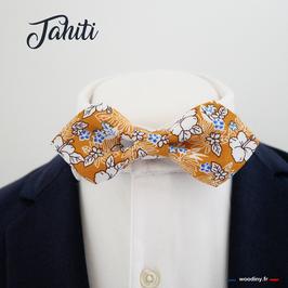 "Noeud papillon fleuri tropical ""Tahiti""- forme en pointe"
