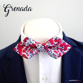 "Noeud papillon liberty rouge rose et bleu ""Grenada"" - forme en pointe"