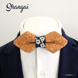 """Noeud papillon en liège """"Shangaï"""" - forme en pointe"""