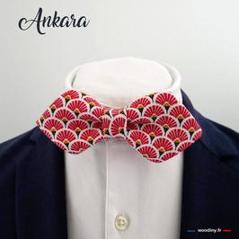 "Noeud papillon rouge ""Ankara"" - forme en pointe"