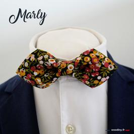 """Noeud papillon fleuri vert jaune et rouge """"Marly"""" - forme en pointe"""