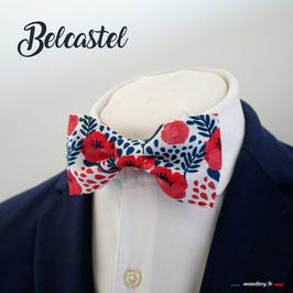 """Noeud papillon fleuri rouge """"Belcastel"""""""