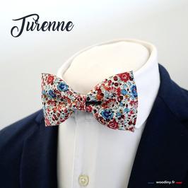 """Noeud papillon fleuri rouge et bleu """"Turenne"""""""