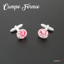 """Boutons de manchette fleuris """"Campo Formio"""""""
