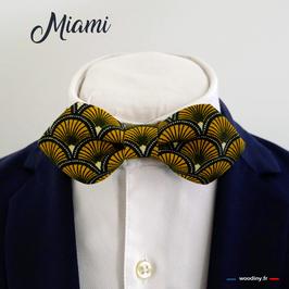 "Noeud papillon jaune ""Miami"" - forme en pointe"