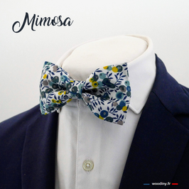 "Noeud papillon bleu et jaune ""Mimosa"""