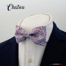 "Noeud papillon liberty rose et bleu ""Chatou"""