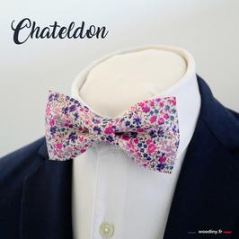 "Noeud papillon fleuri violet rose ""Chateldon"""