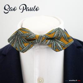"""Noeud papillon motif palmier """"Sao Paulo"""" - forme en pointe"""