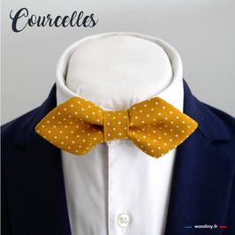 """Noeud papillon jaune à pois """"Courcelles"""" - forme en pointe"""