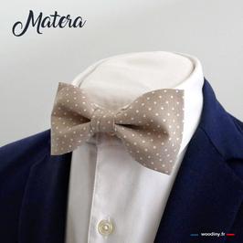 """Noeud papillon beige à pois """"Matera"""""""