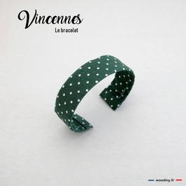 """Bracelet en tissu vert à pois blanc """"Vincennes"""""""
