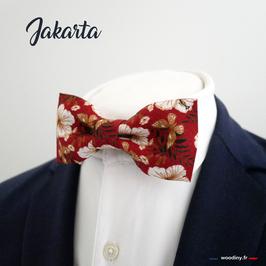 """Noeud papillon fleuri rouge """"Jakarta"""""""