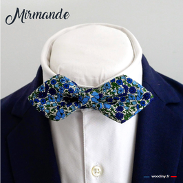 "Noeud papillon liberty bleu ""Mirmande"" - forme en pointe"