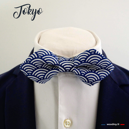 "Noeud papillon bleu ""Tokyo"" - forme en pointe"