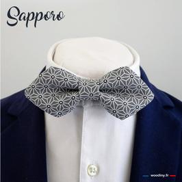 "Noeud papillon gris ""Sapporo"" - forme en pointe"