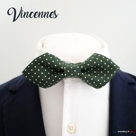 """Noeud papillon vert à pois """"Vincennes"""" - forme à pointe"""