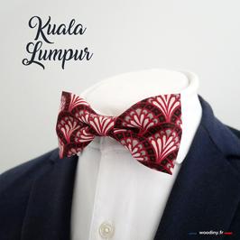 """Noeud papillon rouge et bordeaux, motif éventails """"Kuala Lumpur"""""""