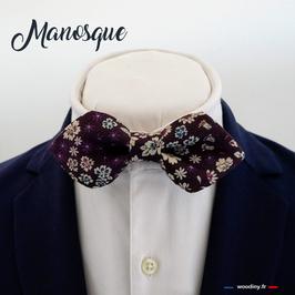 "Noeud papillon aubergine ""Manosque"" - forme pointue"