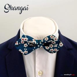 """Noeud papillon liberty bleu, """"Shangai"""""""