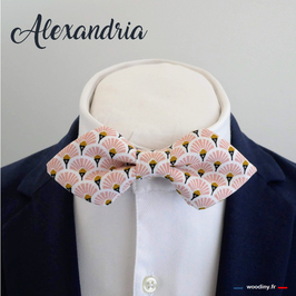 "Noeud papillon rose ""Alexandria"" - forme en pointe"