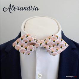 "Noeud papillon rose ""Alexandria"" - forme en pointe"