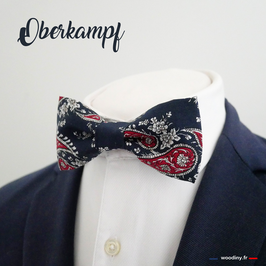 "Noeud papillon motif persan rouge sur fond bleu marine ""Oberkampf"""