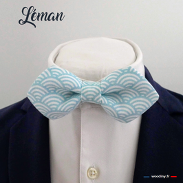"""Noeud papillon bleu ciel """"Léman"""" - forme en pointe"""