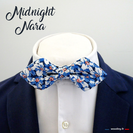"Noeud papillon bleu ""Midnight Nara"" - forme en pointe"