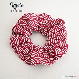 """Chouchou rouges motif japonais """"Kyoto"""""""