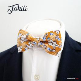 """Noeud papillon motif fleuri tropical """"Tahiti"""""""