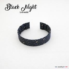 """Bracelet en tissu noir """"Black Night"""""""