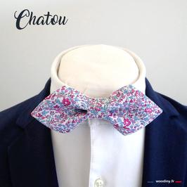 "Noeud papillon liberty rose et bleu ""Chatou"" - forme en pointe"