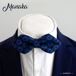 "Noeud papillon bleu ""Manaka"" - forme en pointe"