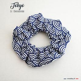 "Chouchou bleu motif japonais vagues ""Tokyo"""