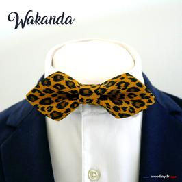 "Noeud papillon motif léopard ""Wakanda""- forme en pointe"