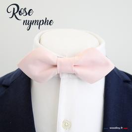 "Noeud papillon ""Rose nymphe"" - forme en pointe"
